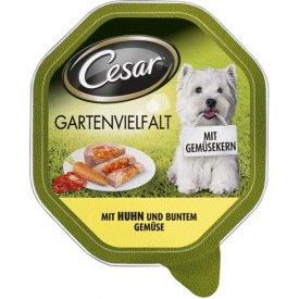 Cesar Hundefutter Gartenvielfalt mit Huhn und Buntem Gemüse