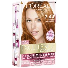 L`Oreal Dauerhafte Haarfarbe Excellence 7.43 Kupfer Goldblond