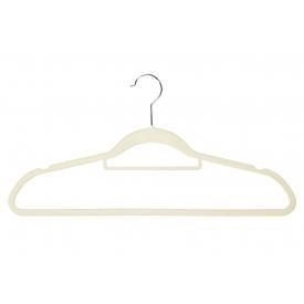 Kesper Kleiderbügel Kunststoff beflockt 45,5cm beige 6er