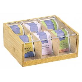 Kesper Tee-Box Bambus mit Sichtklappe 22x21x9,5cm