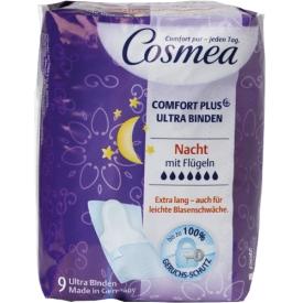 Cosmea Comfort Plus Ultra Binden mit Geruchsschutz Nacht mit Flügeln