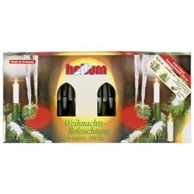 Hellum Lichterkette Schaftkerze 30 Kerzen klar für außen Schaft/Kabel grün 32m elfen