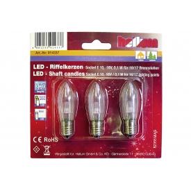 Hellum LED-Riffelkerze 16V, 0,1W, E10 Fassung für 15er Kette 3er Pack