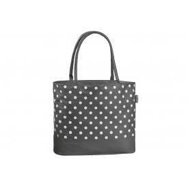 Fabrizio Einkaufstasche Polyester grau mit weißen Punkten 40x35x17cm