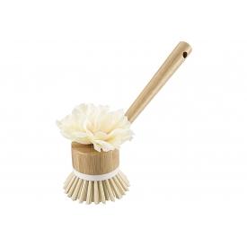 Haug Bürsten Spülbürste Bamboo rund mit Textilblume PET mit Bastkordel