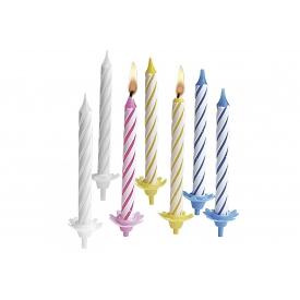 TIB HEYNE Geburtstagskerze Tortenlichte mit Halter sortiert weiß/rosa/gelb/blau