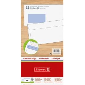 Brunnen Briefumschläge DIN Lang mit Fenster selbstklebend weiß 25 Stück