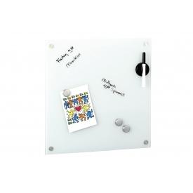 Zeller Present Memoboard Glas magnetisch mit 3 Magnete Stiftehalter und Stift 40x40cm weiß