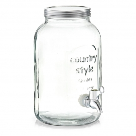 Zeller Present Getränkespender Countrystyle Glas/Metall mit Zapfhahn und Deckel 3,5 l 25cm Ø1