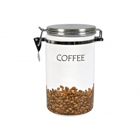 Zeller Present Vorratsdose Kaffee Keramik mit Edelstahl-Deckel und Löffel 19cm Ø10,5cm weiß/
