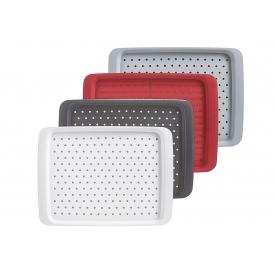 Zeller Present Tablett mit Anit-Rutsch-Belag Kunststoff sortiert 35x26cm weiß/schwarz/rot/grau