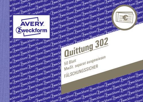 Avery Zweckform Quittung 302 A6 50 Blatt