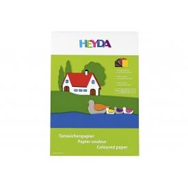 Heyda Tonzeichenpapierblock A4 10 Farben sortiert 20 Blatt