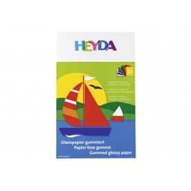 Heyda Glanzpapier Sammelmappe 18,5x29,5cm 10 Farben + gold und silber 12 Blatt