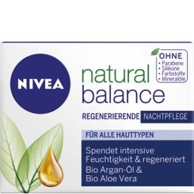 Nivea Nachtpflege Pure & Natural Regenerierende Nachtcreme