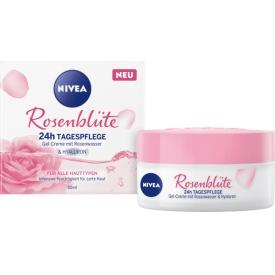 Nivea Tagescreme Rosenblüte, 24h Tagespflege mit Rosenwasser & Hyaluron