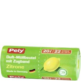 Pely 20 l Clean Duft Müllbeutel mit Zugband Zitrone
