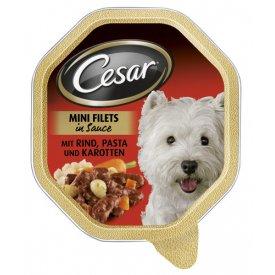 Cesar Hundefutter Mini Filets in Sauce mit  Rind, Pasta und Karotten