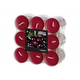 GALA-Kerzen Duft Teelicht in PC Hülle rot/Cherry  18er Pack