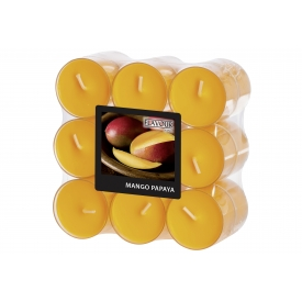 GALA-Kerzen Duft-Teelicht in PC Hülle peach/Mango Papaya  18er Pack