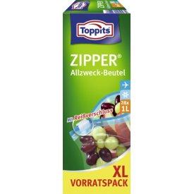 Toppits Zipper Vorratspack XL Allzweck-Beutel mit Reißverschluss 1 Liter