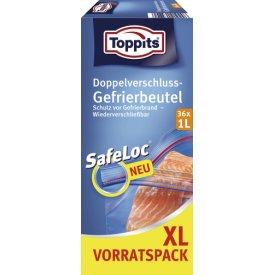 Toppits Doppelverschluss Gefrierbeutel mit Safeloc-Verschluss 1L XL