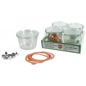 Weck Rundrandglas Sturz 0,25 l 4er Tray mit Deckel, Ring und Klammern