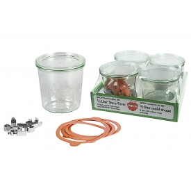 Weck Rundrandglas Sturz 0,5 l 4er Tray mit Deckel, Ring und Klammern