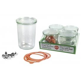 Weck Rundrandglas Sturz 0,75 l 4er Tray mit Deckel, Ring und Klammern