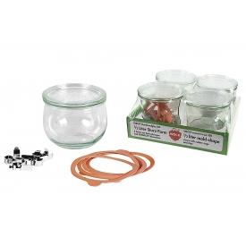 Weck Rundrandglas Tulpe 0,5 l 4er Tray mit Deckel 100mm, Ring und Klammern