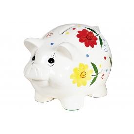 Sparschwein Blumendeko mit Schloß Porzellan 18cm weiß