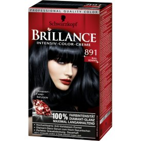 Schwarzkopf Brillance Dauerhafte Haarfarbe Intensiv-Color-Creme Night Diamonds 891 Blauschwarz