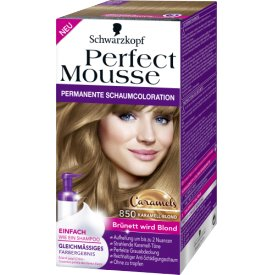 Schwarzkopf Perfect Mousse Permanente Schaumcoloration 850 Karamell-Blond