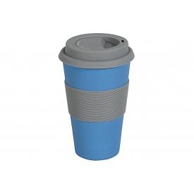 Magu Becher Coffee to go Natur-Design blau