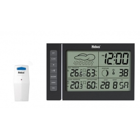 Mebus Funk-Wetterstation digital mit Funksensor und Wetterprognose 11x18x2,2cm schwarz