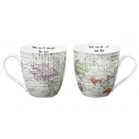 Boltze Kaffeebecher Weltreise Jumbo Porzellan sortiert 600 ml 11cm Ø11cm weiß