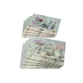 Boltze Tischset Flower mit Korkunterseite 4teilig