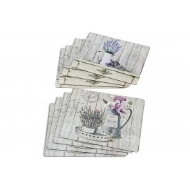 Boltze Tischset Lavendel mit Korkunterseite 4teilig
