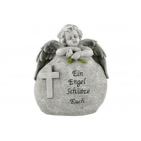 Poly-Engel hinter Stein 15x8x18cm