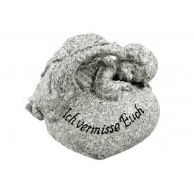 Engel liegend auf Stein Poly 11x8x9cm