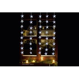 F-h-s LED-Lichtervorhang Stern 40LED kaltweiß IP 44 Außenadapter 1x1,2xm transparent