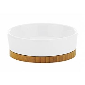 Kela Seifenschale Natura Keramik/Bambus 4cm Ø12cm weiß