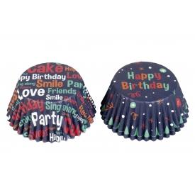 Rbv Birkmann Papierbackförmchen Muffin Happy Birthday blau 24 Stück
