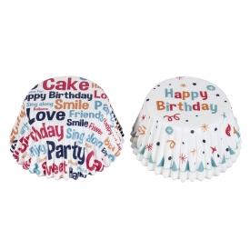 Rbv Birkmann Papierbackförmchen Muffin Happy Birthday weiß 24 Stück
