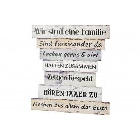 Schild Familienregeln II Holz 30x32cm