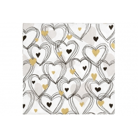 Paper + Design Lunch-Serviette 33x33cm Herzen gold 20er Pack