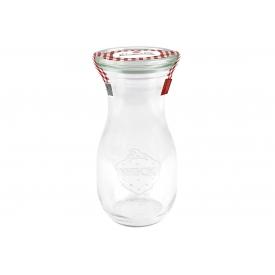 Weck -Saftflasche Einkochwelt 250ml mit 60mm Rundranddeckel und Siegeletikett rot/wei
