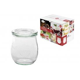 Weck Rundrandglas Einkochwelt Vor-und Nachspeisen Tulpe 220 ml 12er Karton mit Deckel