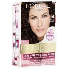 L`Oreal Dauerhafte Haarfarbe Excellence Mittelbraun 4