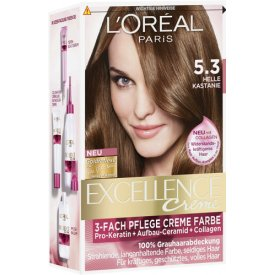 L`Oreal Dauerhafte Haarfabe Creme Coloration Excellence  5.3 Hell Kastanie